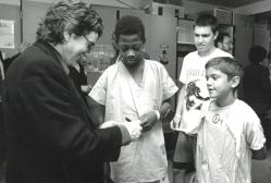Dudley with children at Children's Hospital of Philadelphia