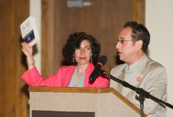Boardmembers Anisa Mehdi and Jack Cuffari serve as auctioneers at Cabaret On The Hudson