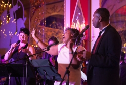 Voices of Valor Veteran Karen Dillard joins Lou Watson and Jennifer Lampert at the Russian Tea Room in 2013