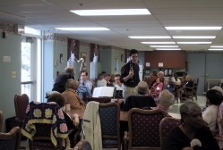 David Hattner brings his oboe to the seniors of Muhlenberg Day Care Center in Plainfield, New Jersey