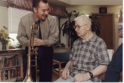 Michael Seltzer of Riverside Trombone Quartet at Runnells Hospital