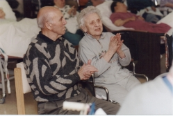 Residents at Runnells Hospital in Watchung, NJ applaud a program