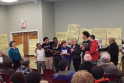 The young residents of Daytop Residential School in Mendham, NJ celebrate the creation of their song with Jennifer Lampert and Julio Fernandez in the Voices of Empowerment program